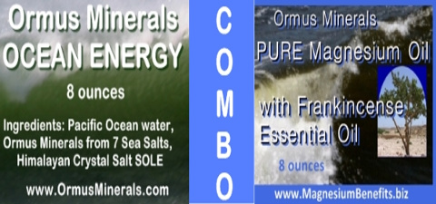 COMBO - Ormus Minerals Ocean Energy & PURE Magnesium Oil with Frankincense Essential Oil