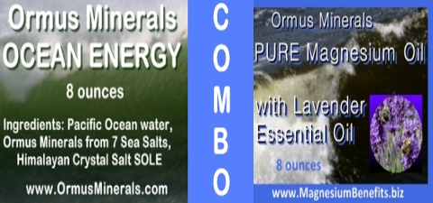 COMBO - Ormus Minerals Ocean Energy & PURE Magnesium Oil with Lavender Essential Oil