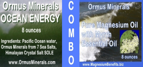 COMBO - Ormus Minerals Ocean Energy with PURE Magnesium Oil with Myrrh Essential Oil