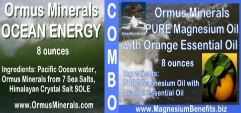 COMBO - Ormus Minerals Ocean Energy with PURE Magnesium Oil and Orange Essential Oil