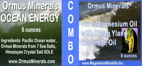 Combo Ormus Minerals Ocean Energy & PURE Magnesium Oil with Ylang Ylang Oil