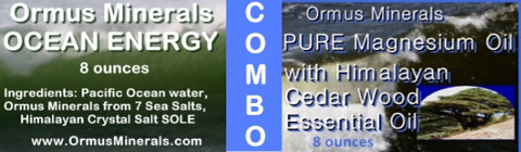 Ormus Minerals Ocean Energy, PURE Magnesium Oil with Himalayan Cedar Wood Essential Oil combo